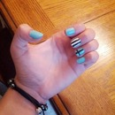 Mint and Striped nails