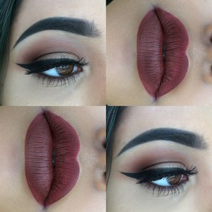 """Loved todays first day of school look, very warm toned and definitely more of a fall look: Used the morphebrushes palette in 35N bc if you know me I have been obsessed with it! Also toofaced in """"coffee bean"""" and """"nude beach"""" of course my favorite liquid lip from anastasiabeverlyhills in """"vamp"""" and """"ebony"""" dip brow! ✨ Follow my insta for more @nvrcosmetics 💓"""