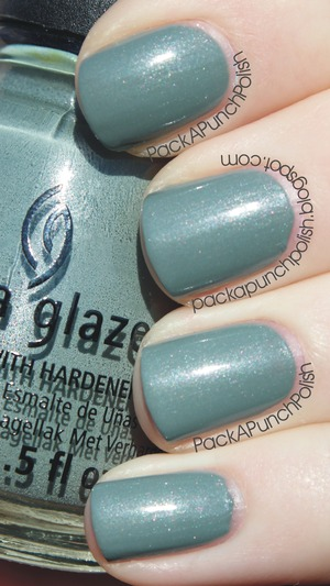 China Glaze Elephant Walk is a grey polish with silver shimmer. This is 2 coats without top coat. It's part of the On Safari Collection.  Blog Post: http://packapunchpolish.blogspot.com/2012/11/china-glaze-elephant-walk.html