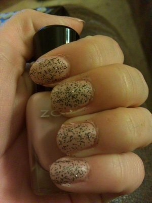 Cookies N Cream: Three coats of Nicole by OPI Pitch Black Glimmer over Zoya Shay.