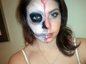 full face of the two faced girl halloween look - tutorial soon!