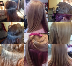 Hair Color by Christy Farabaugh (Before, during, and after)