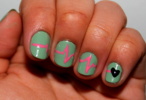 My heart beats only for you.  -A Valentine's nail art idea. <3