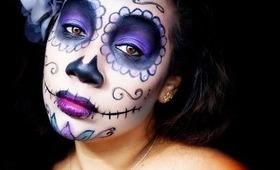 HALLOWEEN MAKEUP TUTORIAL:  Sugar Skull Makeup - Easy | Honey Kahoohanohano