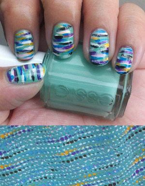 Nail art inspired by a fabric print I found on a dress. Base color was Essie Turquoise & Caicos.