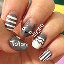 Totoro Inspired Nail Art.