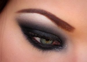 "Black smokey eye inspired by Kassie's ""Silver Glitterati"" look!"