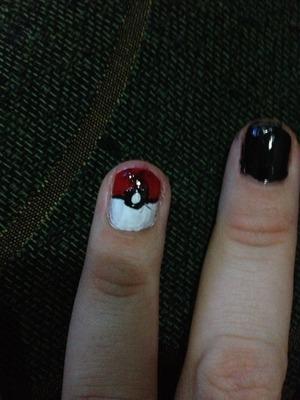 Pokeball Nail Design.