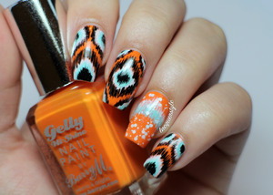 #31DC2013 Orange Nails  More info + tutorial here: http://www.lacquerstyle.com/2013/09/31-day-challenge-day-2-orange-nails.html