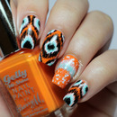 Orange Ikat Nails