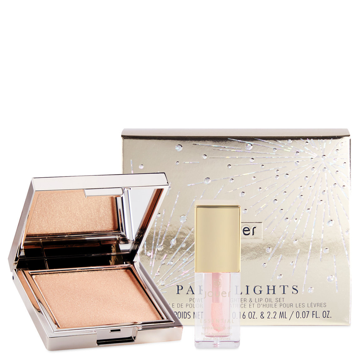 Jouer Cosmetics Paris Lights Powder Highlighter & Lip Oil Set alternative view 1 - product swatch.