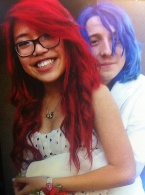 had a blast at prom:) red hair and blue hair with the color white theme:)