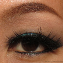Teal Glitter Eye with Winged Liner