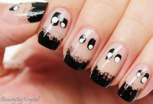 3 coats SinfulColors Glow in the Dark, black nail polish, white nail polish http://www.beautybykrystal.com/2014/10/glowing-ghost-nail-art.html