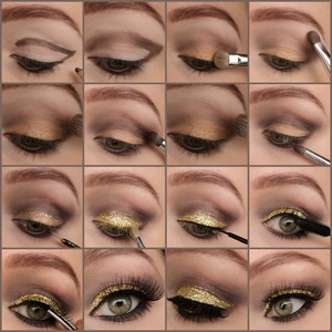 1. Draw a line as in the first picture using a brown pencil, also underneath the eye and connect it. 2. Blend using a blending brush 3. Apply a gold eyeshadow on the lid(zoeva pigment golddiva) 4. Apply a highlighter(sleek au naturelle palette- nougat) 5. Apply a brown matt color on top of the blended pencil using a blending brush(bark) 6. Deepen the crease with a smaller brush with a more darker brown, redtoned color(regal) 7. Blend everything using a skin color toned eyeshadow(honeycomb) 8. Apply the dark brown color also below the eye 9. Apply glitter liner or some kind of base, I used nyx glitter liner in gold to line out the edges and filled in the rest with essence colour arts eye base. 10. Apply the gold glitter pigment, I am using gold from NYX glitter mania. 11. Draw a thin line using liquid eyeliner.(essence liquid ink) 12. Apply some mascara(loreal volume million lashes) 13. Apply falsies, I am using red cherry #43. 14. Now you're done!  This is a great prom or any kind of chique event look or even for the holidays. Follow my instagram If you like it: http://instagram.com/makeupbyeline/