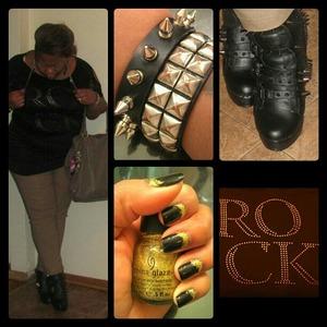 """Rock"" Shirt- Dots Pants- Rainbows  Bracelets- Hot Topic  Boots- Abbey Dawn Handbag- Steve Madden"