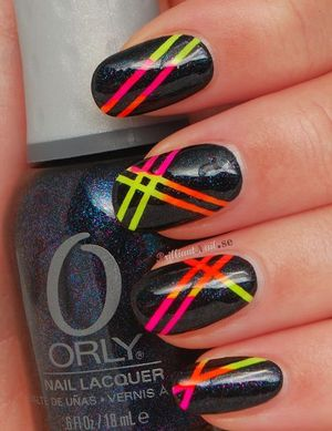 For this mani I used all polishes (except for Skinny Dip) from Orly's summer 2012 collectio Feel The Vibe & striping tape. http://brilliantnail.se/nagel-blogg