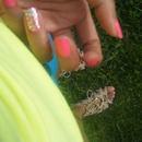 Neon nails and glitter
