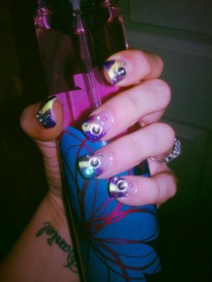 purple and neon yellow mix w/ swarovski crystals