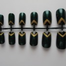 Green and Gold Chevron Tip Nails