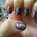 Avon Matte Violetta, China Glaze 2030 and Konad Plate m60