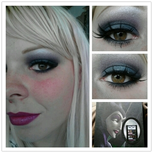 used everything for the night vilan look that came in the kit except the glitter liner. the primer i used was limecrime due to elf primer not working to good for yesterdays Maleficent day look.