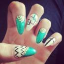 Green Nails done by Alisha