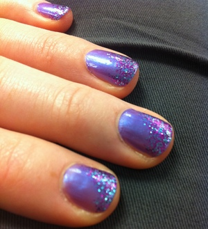 NOTW: Sally Hansen Xtreme Wear Virtual Violet and Sinful Colors Frenzy (glitter top).