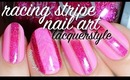 "Valentine's Negative Space ""Racing Stripes"" Nail Art 