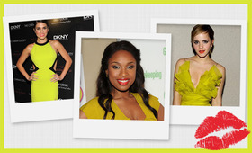 Would You Rock the Red Lip and Chartreuse Combo?