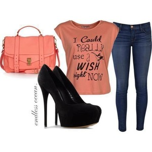 Regular everyday look with heels love it I do need a wish right now