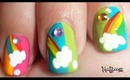 Summery Rainbow on Clouds Nail Art / Diseño de uñas con arco-iris
