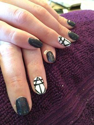 Black & White, black superfine glitter and geometric design
