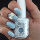 Cute Baby Blue Bow Nail Art