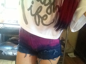 My cute DIY shorts :) super easy and inexpensive. Spent 13$ compared to the 40$ at most retail stores. And they match my hair ;) hehe. 💜💖🎀