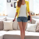 Hollow-out Pocketed Denim Shorts