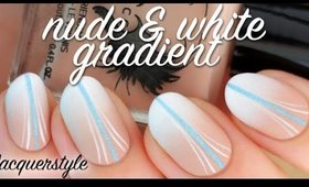 Matte Nude & White Gradient Nail Art | Lacquerstyle