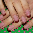 Gold-Red French manicure