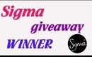 Sigma Giveaway winner!