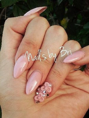 rose pink acrylic mix w/3d flowers and Swarovski stones