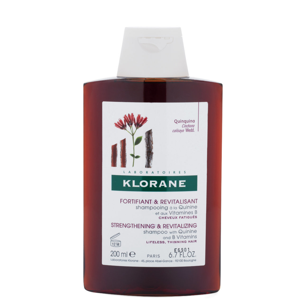 Klorane Shampoo with Quinine and B Vitamins 6.7 oz product swatch.