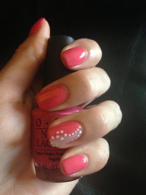 Opi Strawberry Margarita and simple nail art