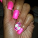 Pink nails w/ Bow