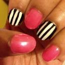 Pink, Black & White Stripes