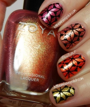 For full details on this mani head on over to :http://www.letthemhavepolish.com/2013/08/zoya-irresistible-summer-ombre-stamped.html