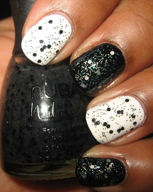 Nubar Black Polka Dot over Wet 'n Wild White Creme and Nubar Whire Polka Dot over Wet 'n Wild Black Creme