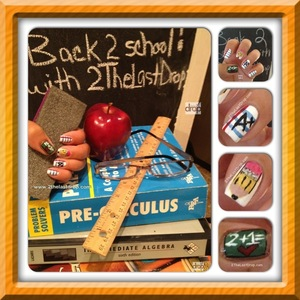 "Aiming for a ""good grade"" with these back to school notebook paper and chalkboard nails.