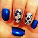 Blue Glitter Cheetah Nails