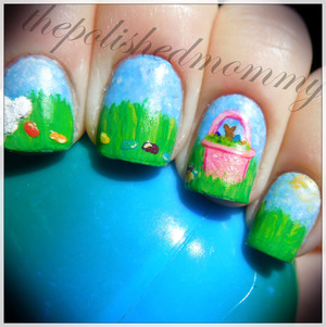 Happy Easter! March Nail Art: Pastels. http://www.thepolishedmommy.com/2013/03/follow-bunny-trail.html