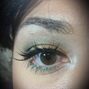 Gold and green holiday look